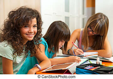 Portrait of teenage girl with friends doing homework -...