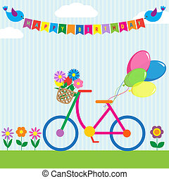 Colorful bike with flowers and balloons