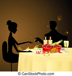 Couple taking Candle Light Dinner - illustration of couple...
