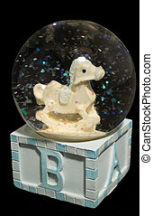Baby Infant Snowglobe on black background