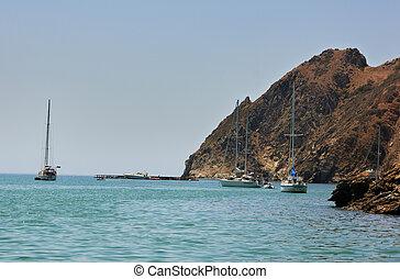 Moored Yachts Santa Catalina Island