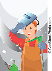 Welder - A vector illustration of a working welder