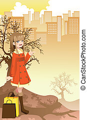 Shopping girl - A vector illustration of a beautiful girl...