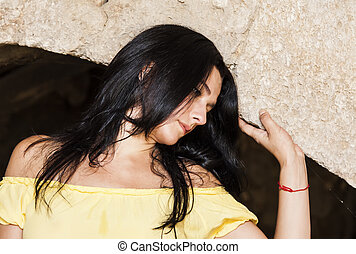 woman - portrait of a woman in the cave