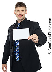 Business consultant presenting blank placard