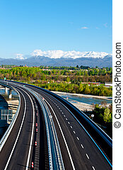 Highway - The Modern Highway in Piedmont on the Background...