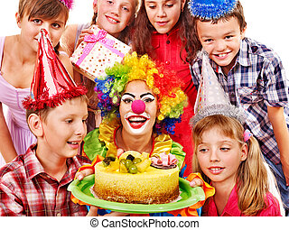 Birthday party group of child with cake. - Birthday party of...