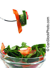 Spring salad on white background - Spring salad from...