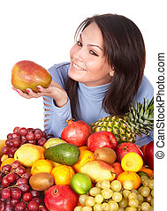 Girl with group of fruit and vegetables