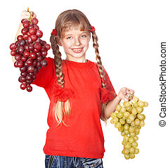 Child takes bunch of grape - Little girl takes bunch of...