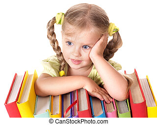 Child holding pile of books.