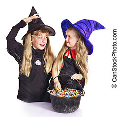 Witch with trick or treat - Witch children with trick or...