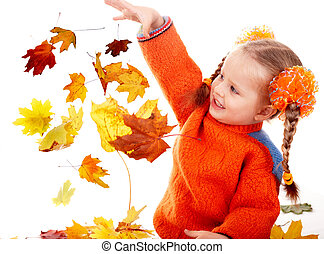Girl child in autumn orange leaves Fall sale - Girl child in...