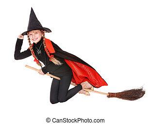 niño, disfraz, Halloween, bruja, mosca, escoba