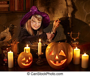 Witch with pumpkin lantern Halloween