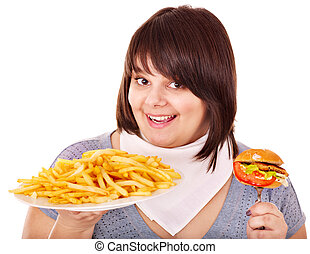 Overweight woman eating hamburger Isolated