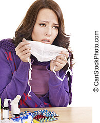 Girl having flu taking pills - Young woman having flu takes...