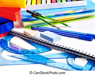 School office supplies - School office supplies with...