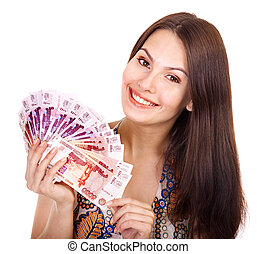 Woman with money Russian rouble Isolated