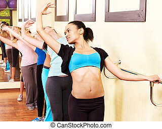 Women in aerobics class - Women group in aerobics class do...