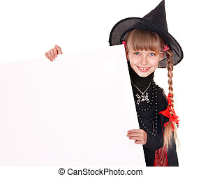 Child  witch holding banner and thumb up. Isolated.