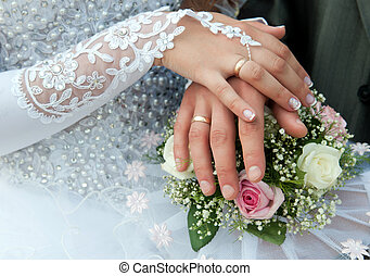 wedding hands - Hands of groom and bride with wedding rings...
