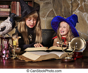 Witch kid with crystal ball - Witch children with crystal...