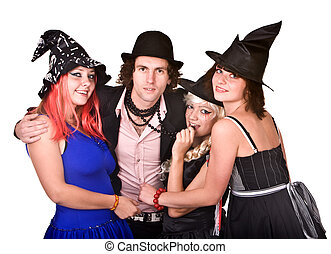 Group of people in witch costume Isolated
