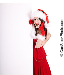 Christmas girl in santa hat with banner. Isolated.
