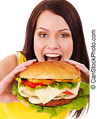 Woman holding hamburger Isolated