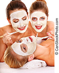 Group women with facial mask. - Group woman getting facial...