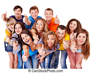 Group people isolated. - Group people isolated thumb up.
