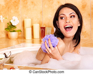 Woman take bubble  bath. - Young woman take bubble  bath.