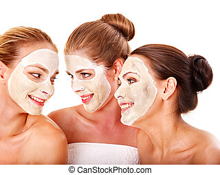 Group women with facial mask. - Group women with facial mask...