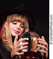 Child holding crystal ball. - Little girl holding crystal...
