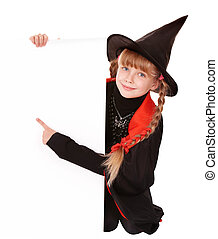 Child  witch holding banner pointing. Isolated.
