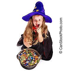 キャンデー, わずかしか, 魔女, 女の子