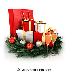 3d christmas gifts with baubles, wreath and two champagne...