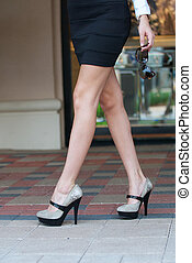Isolation of long legs and high heels.