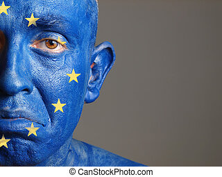 Man face painted with the flag of European Union 2 - Man...