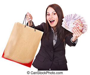 Woman with money Russian rouble and shopping bag Isolated