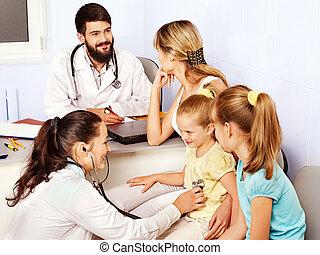 Doctor exam child. - Group female doctor exam children.
