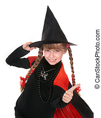 Child girl witch in black costume with thumb Isolated