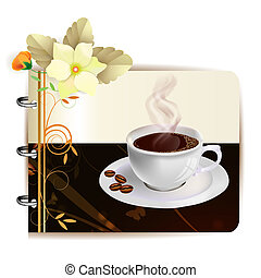 Background with cap of coffee