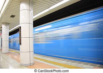 Blue Train In Motion