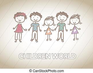 Children - children together in friendship over white...