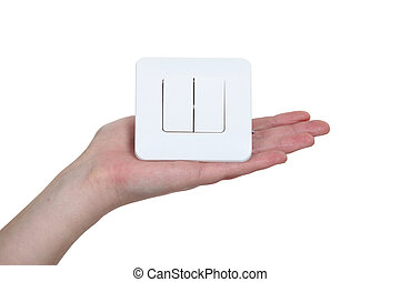 Hand of a woman holding a switch