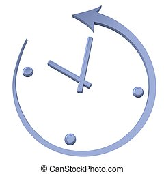 Turn back the clock Abstract clock on a white background