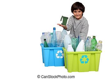 little boy waste sorting