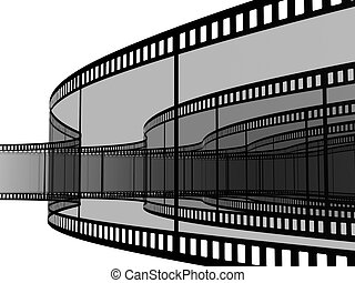blank films - 3d blank films strip over white background
